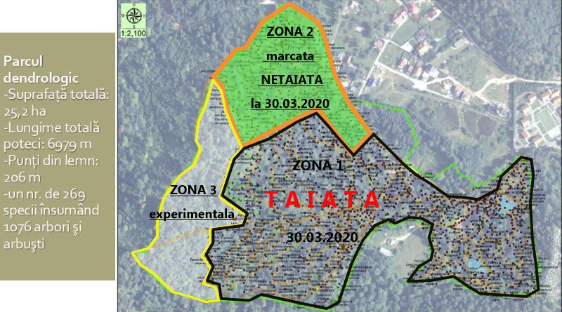 Harta zone parc dendrologic Noua - 30.03.2020